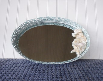 Vintage Mirror/Vanity Tray with Coral, Shells and Starfish