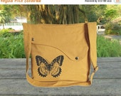 June On Sale 10% Off Yellow canvas shoulder bag, messenger bag, crossbody bag, travel bag with butterfuly printed, personalized screen print