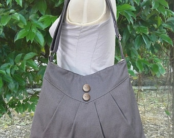 Halloween Sale 10% off Gray purse / cross body bag / messenger bag / shoulder bag / diaper bag  - cotton canvas