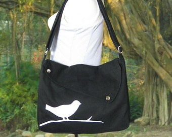 wholesale canvas bags / black cotton canvas cross body bag / diaper bag / hand bag / messenger bag with bird sewn on it