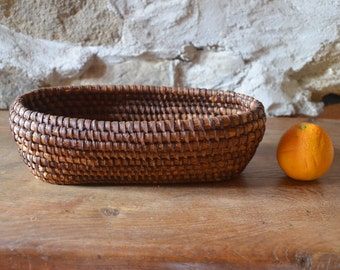 Antique French Coiled Rye Straw Oval bread Basket