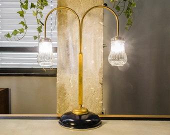 Table lamp, Black desk lamp, Upcycled lighting, Brass lamp, Mason jar light, Handmade lamp, Black lamp, Designer lamp, StudiORYX, Reem Eyal