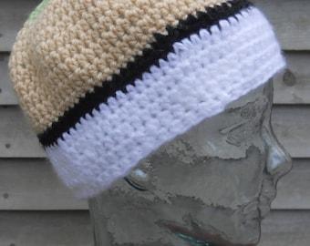 mint green tan black white beanie hat chemo cap rasta hand crochet OOAK warm acrylic wool hand wash