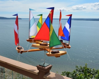 "New (7) Sailboat Double Direction""Striped Sails"" Whirligig"