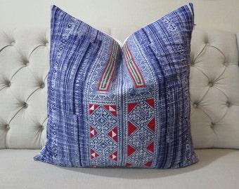 "26""x26"" Batik Pillow Cover- Handprinted Vintage Batik and cross stitch Fabric,Decorative Cushion,Throw Pillow,Decorative Pillow"