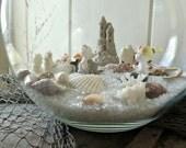 Vintage Beach Scene Assemblage with Bone China Mermaids - Sandcastle - Seashells & Glass Sand - Decorative