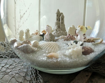 Vintage Beach Scene Assemblage with Bone China Mermaids - Sandcastle - Seashells & Glass Sand - Decorative