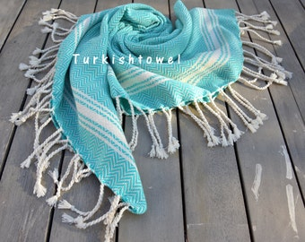 Turkishtowel-Soft-Hand woven,warp&weft cotton Hand,Tea,DishTowel-Herrigbone pattern,Natural Cream stripes on Teal-Green Turquoise