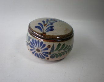 Vintage Handpainted Mexican Tonala Trinket Dish Ring Box