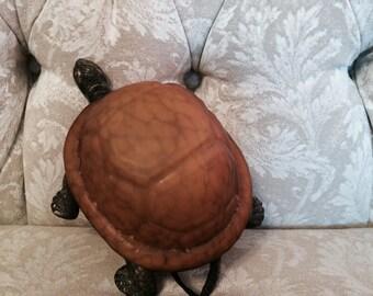 Elegant Amber Glass Turtle Guest Room Night Light Vintage Lamp Small Night Light. Elegant Turtle Woodland Decor