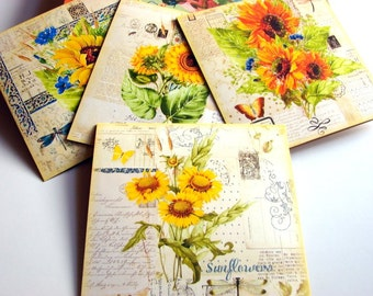 Floral Greeting Card Set - Sunflowers Collage Butterflies Flowers Garden Dragonfly Gardening Shabby Vintage - 4 Lg Square Note Cards