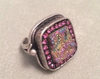 SUMMER SALE Rainbow druzy fuchsia crystal ring