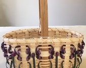 SALE - Save 20% - Handmade Flower Garden Basket - Purple - Easter Basket