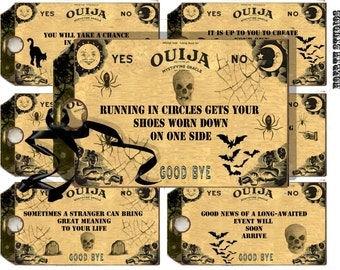 Ouija board fortune tags printable gothic halloween tags