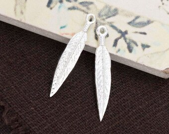 2 of 925 Sterling Silver Feather Charms 4x20 mm. :th2478