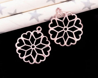 2 of 925 Sterling Silver Rose Gold Vermeil Style Blossoming Heart Charms 15mm. :pg0155