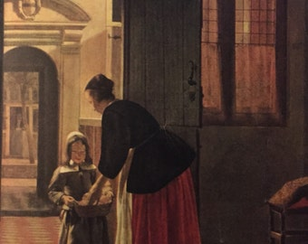 Dutch House Color Print by Pieter de Hooch 1680s t, from 1951 Book