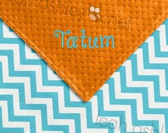 Baby Blanket - Turquoise Chevron MINKY, Orange MINKY Dot - Parker - BB1
