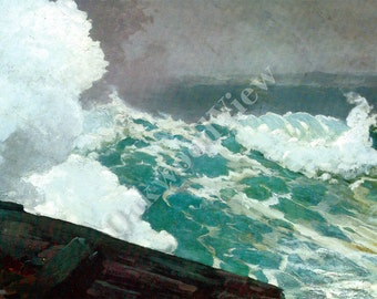 Northeaster by Winslow Homer, Vintage 9x12 Color Art Print, Stormy Seas, Nor'easter, Waves Crashing, Oceanscape Seascape, FREE SHIPPING