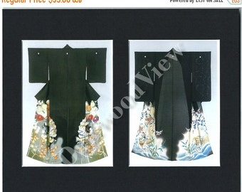 ON SALE Black Kimonos Art Print, 8x10 Double Mat, Matted Giclee Picture, Japanese Women's Traditional Costume Fashion, FREE Shipping