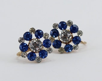 Vintage Gold Tone Faux Sapphire Blue Clear Crystal Glass Rhinestone Cluster Screw On Earrings