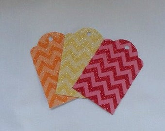 Fun Chevron Gift Tag Set of 6... Skittles colors of Red, Orange and Yellow
