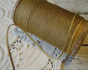 Antique old metallic gold soutache braid trim, 1 yard with more available