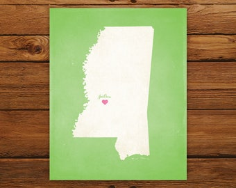 Customized Printable Mississippi State Map - DIGITAL FILE, Aged-Look Personalized Wall Art