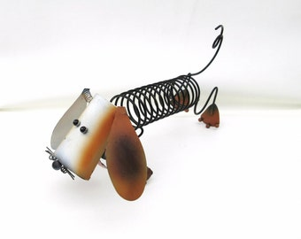 Vintage Record Rack | Weenie Dog Record Holder | Letter Holder | Mail Sorter | Dachshund | Metal Dog Sculpture