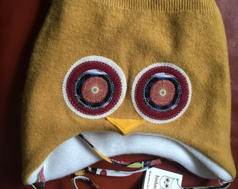"""Hoo Hat -Upcycled Wool Owl -Size Large (20.75-22"""" head)"""
