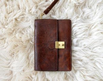 Vintage Wallet Clutch Vintage Dark Brown Leather Unisex Handbag