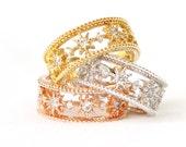 Starburst Band Ring /adjustable ring, gold, silver, pink gold
