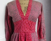 60's Vintage Hippie India Hand Woven Printed Cotton Dress med.