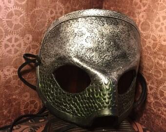 Scaled Metallic Green and Silver Leather Masquerade Mask - Handmade LEATHER MASK - Renaissance, Mermaid, Aquaman, Poseidon, Neptune, Ocean