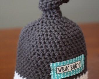 VBAC Baby Crochet knot newborn hat in Gray and White