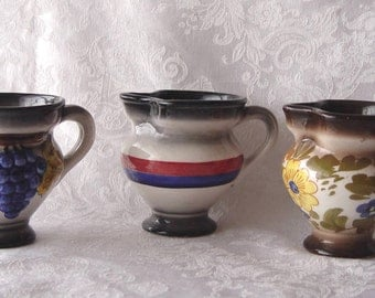 SET of 3 Vintage Painted Glazed Ceramic CREAMERS Pitchers ~ Matching but Different