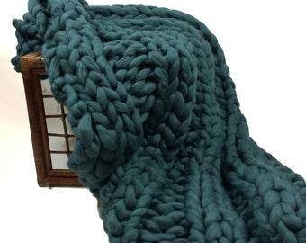 "Super Chunky Blanket, Giant Knit Blanket, Chunky, Throw, 32x56"""