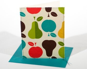 Fabric Fold-Over Card, Blank Notecard, Any Occasion Card, Medium Thank You Card, Apples & Pears Greeting Card, 4 Card Pack: Fruit