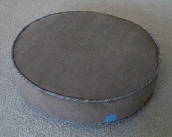 Round Cat Bed in Gray Upholstery Velvet with Linen Blend Striped Piping
