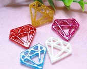 10 pcs of Glitter Resin Diamond cabochon Flat back 24x22mm Mix 6colors