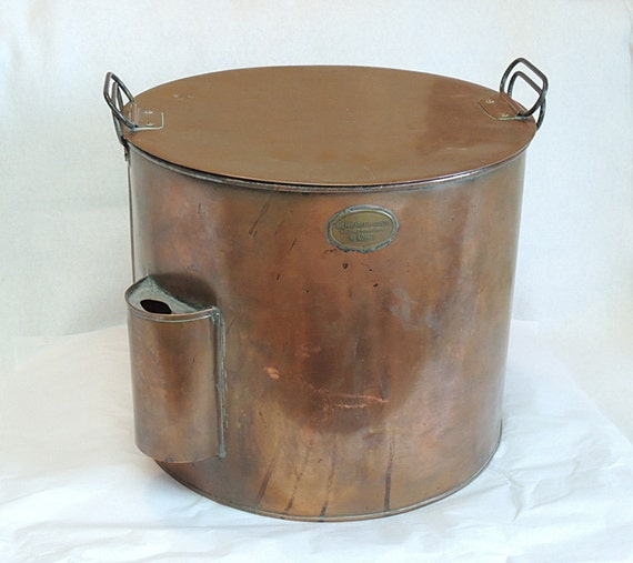 Antique Copper Crab, Clam, Food Kitchen Steamer Kettle / Pot Early 1900s Geo Fowler, Lee & Co