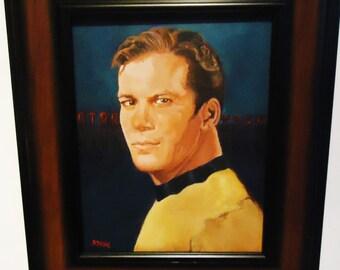 Star Trek Painting by S Dunn  Our Gramma  8x10 Portrait of Captain Kirk of original  1960s Star Trek tv series ,  framed