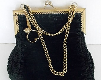 Vintage Black Purse With Glove Clip Italy Gold Tone Kiss Closure