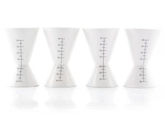 Vodka Shots,  Porcelain Double Sided Vodka Glasses Set, Jigger