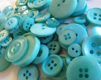 Teal Buttons, 100 Bulk Assorted Round Multi Size Crafting Sewing Buttons