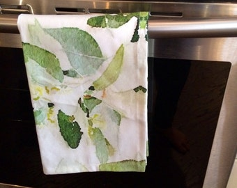 Leaf watercolour tea towel