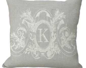 Soft Gray Neutral Fancy Frame  Custom Monogram Burlap in choice of 12x12 14x14 16x16 18x18 20x20 22x22 24x24 26x26 Pillow Cover