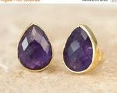 WINTER SALE - Purple Amethyst Stud Earrings - February Birthstone Studs - Gemstone Studs - Tear Drop Studs - Gold Stud Earrings - Post Earri