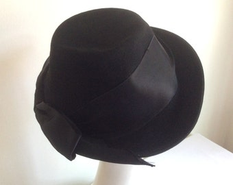 Vintage Black Felt Fedora Hay by Lady Baltimore with Black Satin