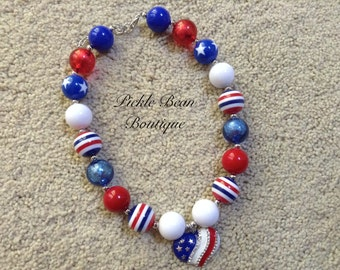 Bubblegum Necklace, Red White Blue Chunky Necklace, Patriotic Baby Necklace, Girls Kids Necklace, Bubble Gum Necklace, Bubblegum Necklace